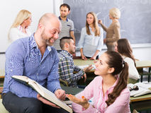 Different age students during break. Different age happy students during break at extension courses Royalty Free Stock Photos