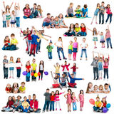 Different-aged funny children in groups Royalty Free Stock Photos
