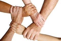 Different ages holding arms. 5 different hands holding wrists Stock Images