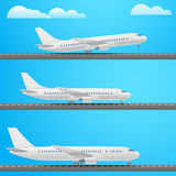 Different aircrafts collection. Flat design. Illustration Stock Photo