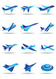Different airplanes in flight Stock Image