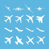 Different airplanes vector icon set Royalty Free Stock Images