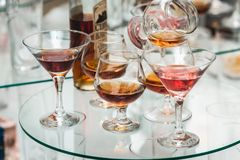 Different alcohol drinks on a glass stand. wine, champagne, cognac, vodka, martini. Different alcohol drinks on a glass stand. wine, champagne, cognac, vodka Royalty Free Stock Image