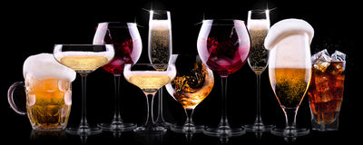Different alcohol drinks set royalty free stock images
