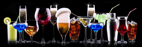 Different alcohol drinks set Stock Image