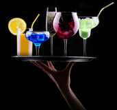 Different alcohol drinks set on a tray Royalty Free Stock Images