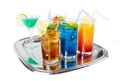 Drinks on tray Stock Photos