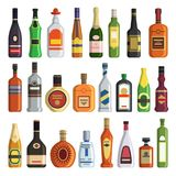 Different alcoholic drinks in bottles. Alcohol bottle drink whiskey and champagne, vodka and martini, brandy and rum, vector illustration royalty free illustration