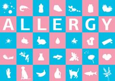 Different allergens in squares Stock Images