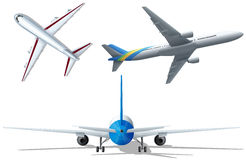 Different angle of the airplanes Royalty Free Stock Image