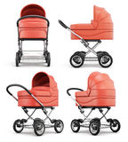 Different angle baby stroller  on white background. 3d r. Endering Royalty Free Stock Image