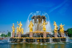Russian Motherland - VDNKh golden  Friendship of Nations fountain 2 Royalty Free Stock Photos