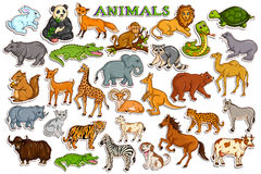 Different animal collection in sticker style. Vector illustration of different animal collection in sticker style Royalty Free Stock Image