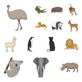 Different animals cartoon icons in set collection for design. Bird, predator and herbivore vector symbol stock web. Different animals cartoon icons in set Royalty Free Stock Image