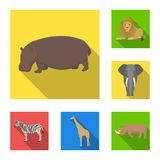 Different animals flat icons in set collection for design. Bird, predator and herbivore vector symbol stock web. Different animals flat icons in set collection Royalty Free Stock Photography