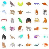 Different animals icons set, cartoon style Stock Image