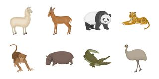 Different animals icons in set collection for design. Bird, predator and herbivore vector symbol stock web illustration. Different animals icons in set Stock Images