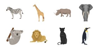 Different animals icons in set collection for design. Bird predator and herbivore vector symbol stock illustration royalty free illustration