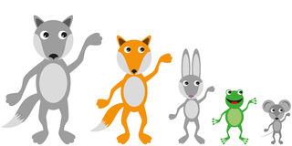 Different animals in a simple flat style Stock Photography
