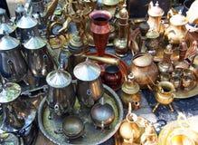 Different antic metallic utensils, Spain. Different antic metallic utensils, market Royalty Free Stock Images