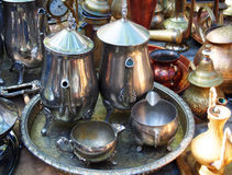 Different antic metallic utensils, Spain. Different antic metallic utensils, market Royalty Free Stock Photo
