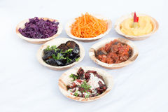 Different appetizer and anti pasti. Typical Turkish anti pasti on wood table Stock Photo