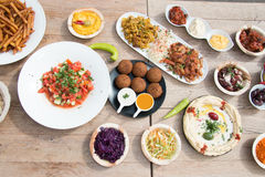Different appetizer and anti pasti. Typical Turkish anti pasti on wood table Stock Photography