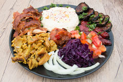 Different appetizer and anti pasti. Typical Turkish anti pasti on wood table stock images