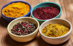 Different appetizing relishes in jam dishes Royalty Free Stock Images