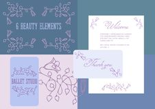 6 different arabesques of flowers. For your romantic design. Good for greeting cards, menus, visit cards, and etc.Including spring flowers color scheme royalty free illustration