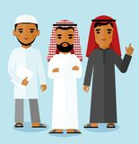 different arabic business people in different poses. Stock Photo