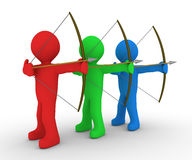 Different archers aiming at same target. Different colored archers are aiming at the same direction Royalty Free Stock Photo