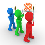 Different archers aiming and a target. Different colored archers are aiming at the same target Stock Photo