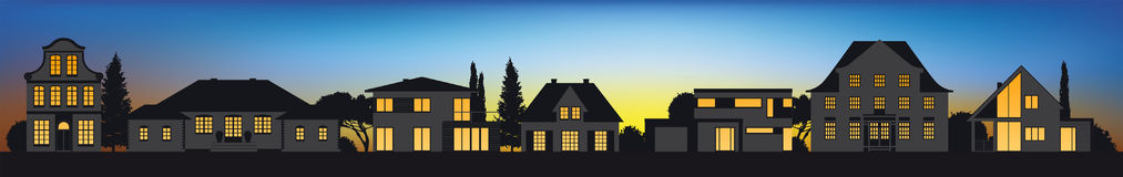 Different architectural sytle vector home silhouettes Stock Photo