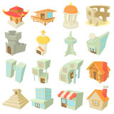 Different architecture icons set, cartoon style. Different architecture icons set. Cartoon illustration of 16 different architecture vector icons for web royalty free illustration
