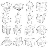 Different architecture icons set, outline style. Different architecture icons set. Outline illustration of 16 different architecture vector icons for web vector illustration