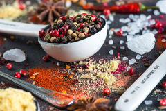 Different aromatic spices background on slate Stock Photography