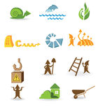 Different arrows. Construction and ecological icons with the different arrows Royalty Free Stock Photos
