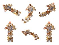 Different arrows of coins Stock Images