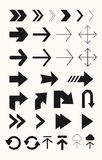 Different arrows vector set. Arrows for signs, web sites, user interfces. Arrows for user interface, web sites, road signs. Thin and bold. Round and square Stock Photo