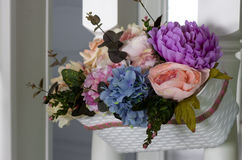 the different artificial flowers stock photography
