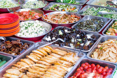 Different asian dishes sold on an outside asian restaurant in Be. Ijing Stock Photos