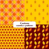 4 different autumn fall  seamless patterns (tiling Stock Photo