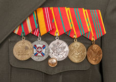 Different awards and medals. On the russian army uniform Royalty Free Stock Photography