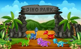 Free Different Baby Dinosaurs In Dino Park Illustration Royalty Free Stock Photography - 163145837