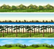 Different background scenes of mountains and trees. Illustration Stock Photo