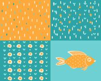 Different backgrounds with sea fish stock illustration