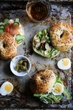 Variety of bagel sandwich royalty free stock images