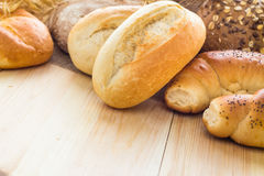 Different bakery products bread rolls grain Stock Images