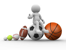 Different balls. 3d people - human character, person with different balls. The football, rugby, baseball, golf, tennis and basketball. 3d render Stock Images